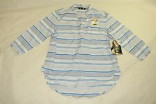 RIDERS BY LEE Women's Flattering Fit Striped Raglan Shirt - BLUE/WHITE - Small