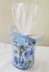 """Pillar Candle Dark Blue Roses Hand Painted 3"""""""