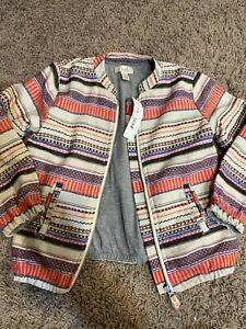 Peek Girls Gorgeous Lined Embroidered Striped Jacket Size 8 NWT