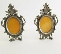 PAIR of Heavy Metal Picture Frames Antique Silver Tone Oval Ornate Vintage