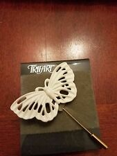 Vintage NEW Trifari white butterfly hat pin