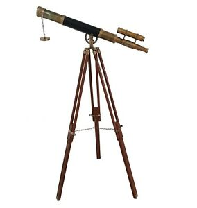 Nautical Spyglass Wooden Tripod Telescope Vintage Marine Double Barrel Scope