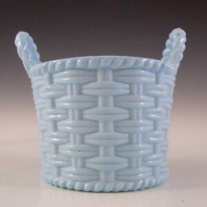 MARKED Sowerby Victorian Blue Milk Glass Basket Bowl #1102
