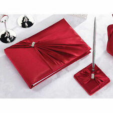 Red Sash Diamond Wedding Guest Book and Pen Set Reception Signature