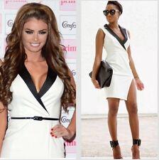 Lipsy Size 8 Tuxedo Monochrome Wrap Black White Pencil Dress Michelle Keegan