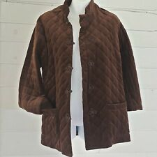 Vintage Designer F.A. Chatta Quilted Jacket Striped Lining Sz Large Velveteen.