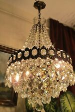 Antique Vnt. French Basket style  Crystal Chandelier Lamp Light 1940's