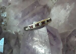 14k Solid White Gold Channel Set Ruby Diamond Band Stack Ring