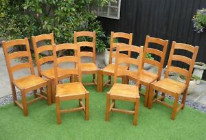 ANTIX SET OF 8 SOLID FRENCH OAK RUSTIC FARMHOUSE DINING CHAIRS, OAK SEATS