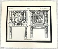 1903 Antico Stampa Louis XIII Francese Architettura Ornamentale Caminetto