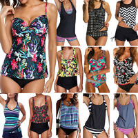Plus Size Women Two Piece Tankini Bikini Set Beach Swimsuit Swimwear Bathing LC