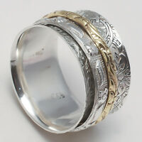 925 Sterling Silver Meditation ring statement Spinner All Size Handmade US-199