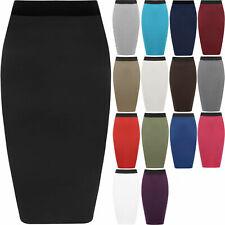 Womens Midi Tube Skirt Ladies Plain Jersey Bodycon Pencil Plus Size 8-26