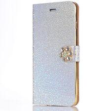 Bling Glitzer Handy Tasche Strass Diamant Hülle Schutz Etui Flip Wallet Case