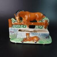Vintage Horse & Foal Figurine Planter Colt MCM Art Pottery Succulent USA Ceramic