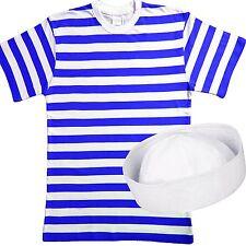 MENS SAILOR FANCY DRESS COSTUME SET SAILOR T-SHIRT+ WHITE  DOUGH BOY HAT