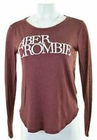 ABERCROMBIE & FITCH Womens Top Long Sleeve Size 10 Small Maroon Cotton  EE10