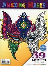 AMAZING MASKS Adult Coloring Book * Mardi Gras * Tribal * Ink or Pencils * 39pgs