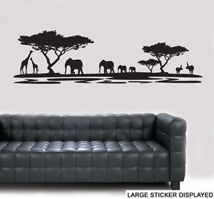 African Animal Landscape Silhouette - Wall Art Vinyl Stickers Safari Decal Mural