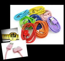 6FT USB SYNC POWER CHARGER 8X COLOR CABLE IPHONE 4S IPOD TOUCH CLASSIC NANO IPAD