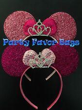 2 pcs Minnie Mouse Princess Ears Headband Rhinestone Tiara Crown Pink Fuchsia