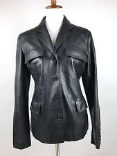 Helmut Lang Mens Black Leather Jacket Made in Italy - Size 46 (36 Small S US)