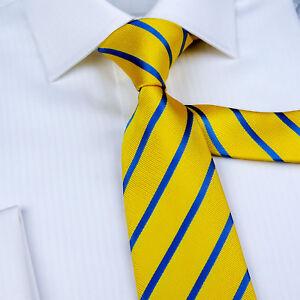 New Yellow Striped Classic Width Tie 8cm Necktie Standard Wide Top Boss Fashion