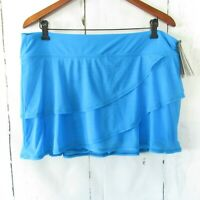 New Coco Reef Swim Suit Skirt 1X Blue Layered Ruffle Bikini Bottom Plus size