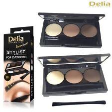 Delia 3 Colour Stylist Set for Eyebrows Kit Make up Palette Angled Brush