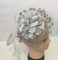 Pretty Light Grey Headband Clip Fascinator Weddings LadiesDay Race Royal Ascot