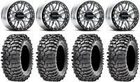 "Raceline Ryno Bdlk 14"" Mh Wheels 30"" Roxxzilla 396 Tires Kawasaki Mule Pro FXT"
