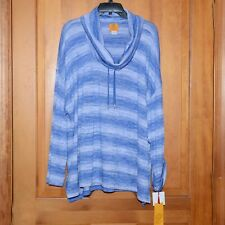 Women Plus Ruby Rd. Tunic Sweater Cowl Neck Blue/White 2X NWT