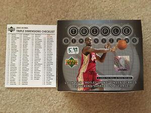 2003-04 TRIPLE DIMENSIONS BASKETBALL HOBBY BOX EMPTY & CHECKLIST LEBRON JAMES RC