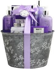 Ladies Women 9-Pcs. Bath Gift Set 'Fresh Lavender' Spa in Vintage Planter