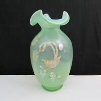 Fenton Opaline Chickadee Hand Painted Vase W434