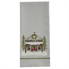 Country General Store on Gray Flat Woven Cotton Kitchen, Christmas Towel