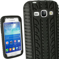 iGadgitz Black Silicone Skin Case Cover With Tyre Tread Design for Samsung Ace