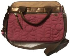 FOSSIL Key-Per Quilted Laptop Tote Purple Padded Bag Beaded Key Chain