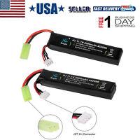 2Pcs 11.1V 2000mAh 30C LiPo Battery Mini Tamiya Plug for Airsoft RC Lipolymer