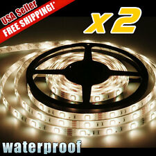 2X 5M Warm White 4500K Car Boat Flexible LED Strip Light 3528 SMD Waterproof 12V