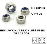 20 x M8 Stainless Steel 304 A2 Hex Nyloc Nut 8mm Nylon Insert Lock Nuts DIY