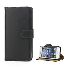 Apple iPhone se 5 5s Handy Tasche Wallet Case echt Leder hülle Bag Etui schwarz
