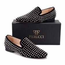 Men FERUCCI Black Velvet Slippers Loafers Flat With Silver Spikes Rivet