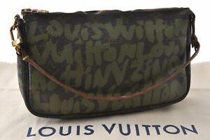 Louis Vuitton Monogram Graffiti Pochette Accessoires Pouch Green M92191 LV D5438