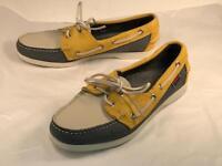 Sebago Docksides Yellow, Beige, Blue Women's Boat shoes Sz. 9 M