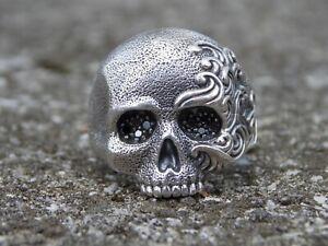 David Yurman Sterling Silver Skull Wave Ring - Black Diamonds in Eyes Size 10