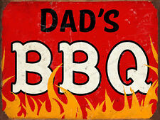 """Dad's BBQ, Retro metal Sign/Plaque, Gift, Home, 10"""" x 8"""" Large"""