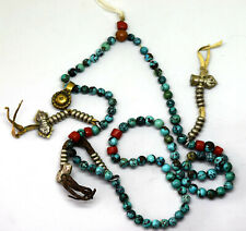 and Brass Beads Necklace Antique Natural Turquoise, Glass
