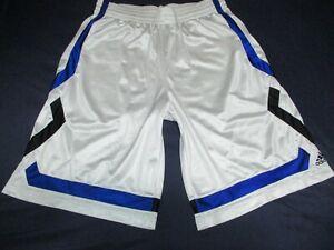 Mens - ADIDAS - Gym Basketball Shorts White Blue Black Mesh L Large vtg dazzle