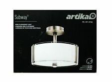 Artika LED Semi-FlushMount Dimmable Ceiling Light with Glass Shade Nickel (0850)